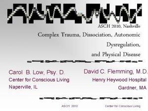 ASCH 2010 Nashville Complex Trauma Dissociation Autonomic Dysregulation