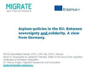 Asylumpolicies in the EU Between sovereignty and solidarity