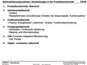 Automatisierungssysteme Anwendungen in der Produktionstechnik Inhalt 1 Produktionstechnik