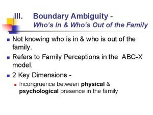 III Boundary Ambiguity Whos In Whos Out of