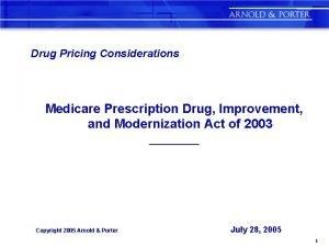 Drug Pricing Considerations Medicare Prescription Drug Improvement and