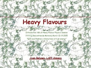 Heavy Flavours Introduction talk at Heavy Flavour Physics