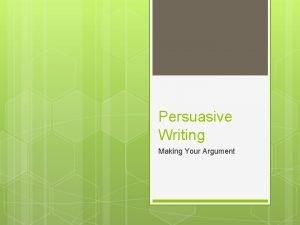Persuasive Writing Making Your Argument Purpose of Persuasive