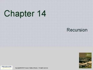 Chapter 14 Recursion Copyright 2012 Pearson AddisonWesley All