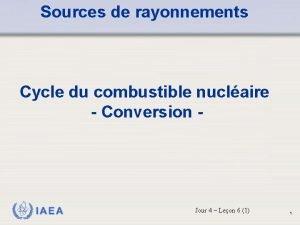 Sources de rayonnements Cycle du combustible nuclaire Conversion