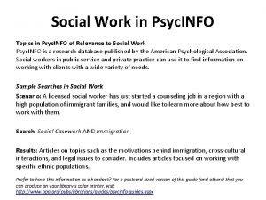 Social Work in Psyc INFO Topics in Psyc