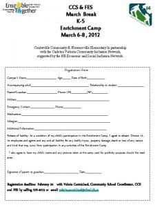CCS FES March Break K5 Enrichment Camp March