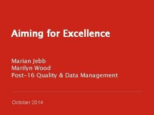 Aiming for Excellence Marian Jebb Marilyn Wood Post16