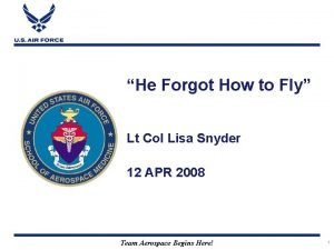 He Forgot How to Fly Lt Col Lisa