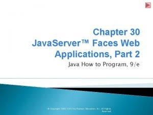 Chapter 30 Java Server Faces Web Applications Part