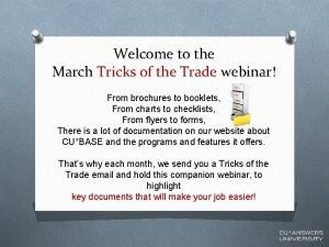 Welcome to the March Tricks of the Trade