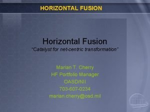 HORIZONTAL FUSION Horizontal Fusion Catalyst for netcentric transformation