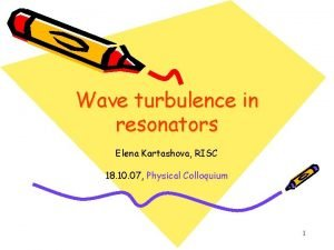 Wave turbulence in resonators Elena Kartashova RISC 18
