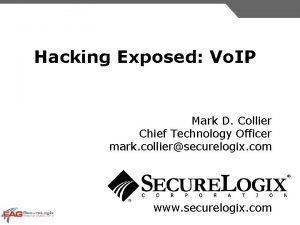 Hacking Exposed Vo IP Mark D Collier Chief