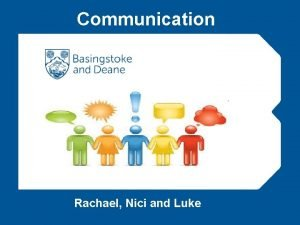 Communication Rachael Nici and Luke Programme Outline Introductions