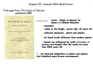 Chapter 22 Descent With Modification Title page from