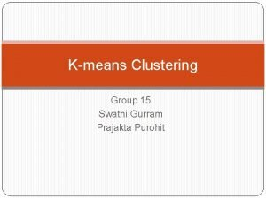 Kmeans Clustering Group 15 Swathi Gurram Prajakta Purohit