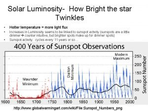 Solar Luminosity How Bright the star Twinkles Hotter