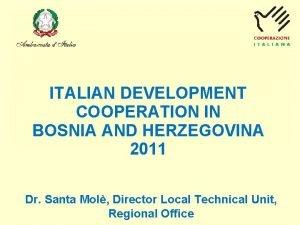 ITALIAN DEVELOPMENT COOPERATION IN BOSNIA AND HERZEGOVINA 2011