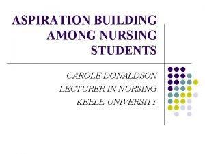ASPIRATION BUILDING AMONG NURSING STUDENTS CAROLE DONALDSON LECTURER