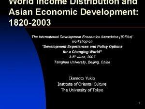 World Income Distribution and Asian Economic Development 1820