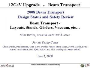 12 Ge V Upgrade Beam Transport 2008 Beam