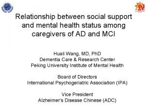 Relationship between social support and mental health status