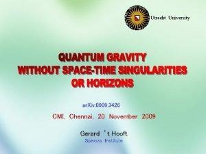 Utrecht University ar Xiv 0909 3426 CMI Chennai