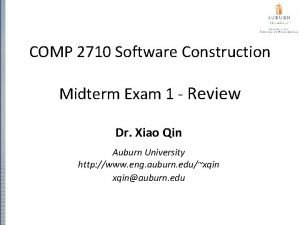 COMP 2710 Software Construction Midterm Exam 1 Review