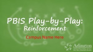PBIS PlaybyPlay Reinforcement Campus Name Here PBIS PlayByPlay