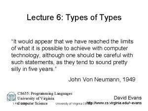 Lecture 6 Types of Types It would appear