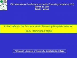 13 th International Conference on Health Promoting Hospitals
