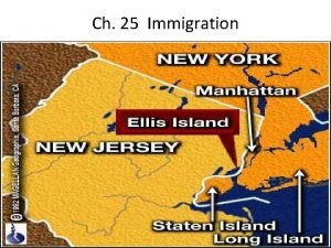 Ch 25 Immigration Increase of Immigration Between 1860
