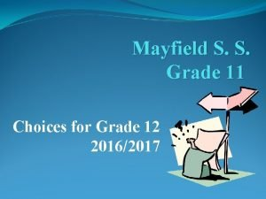 Mayfield S S Grade 11 Choices for Grade