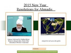 2015 New Year Resolutions for Ahmadis Sermon Delivered
