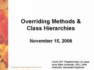 Overriding Methods Class Hierarchies November 15 2006 2004