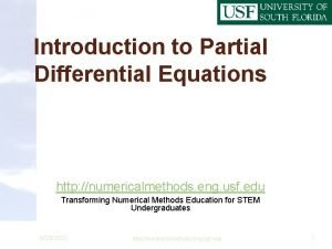 Introduction to Partial Differential Equations http numericalmethods eng