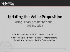 Updating the Value Proposition Using Services to Define