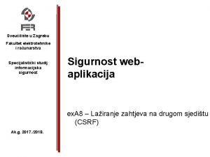 Sveuilite u Zagrebu Fakultet elektrotehnike i raunarstva Specijalistiki