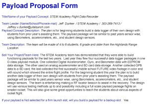 Payload Proposal Form TitleName of your Payload Concept