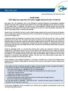 PRESS RELEASE IssylesMoulineaux 14 September 2016 Saudi Arabia
