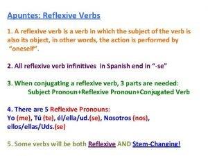 Apuntes Reflexive Verbs 1 A reflexive verb is