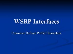 WSRP Interfaces Consumer Defined Portlet Hierarchies Goals Introduction
