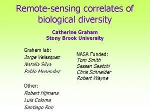 Remotesensing correlates of biological diversity Catherine Graham Stony