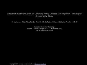 Effects of Hyperthyroidism on Coronary Artery Disease A