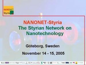 NANONETStyria The Styrian Network on Nanotechnology Gteborg Sweden