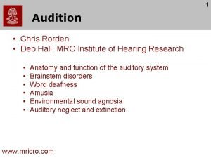 1 Audition Chris Rorden Deb Hall MRC Institute