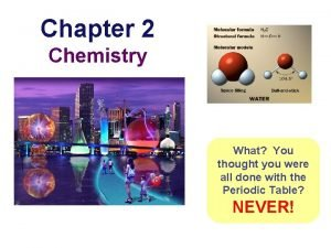 Chapter 2 Chemistry What You thought you were