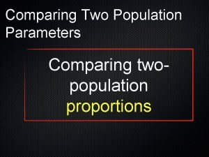 Comparing Two Population Parameters Comparing twopopulation proportions Teststatistic