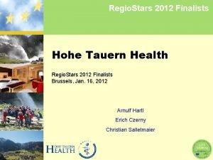 Regio Stars 2012 Finalists Hohe Tauern Health Regio